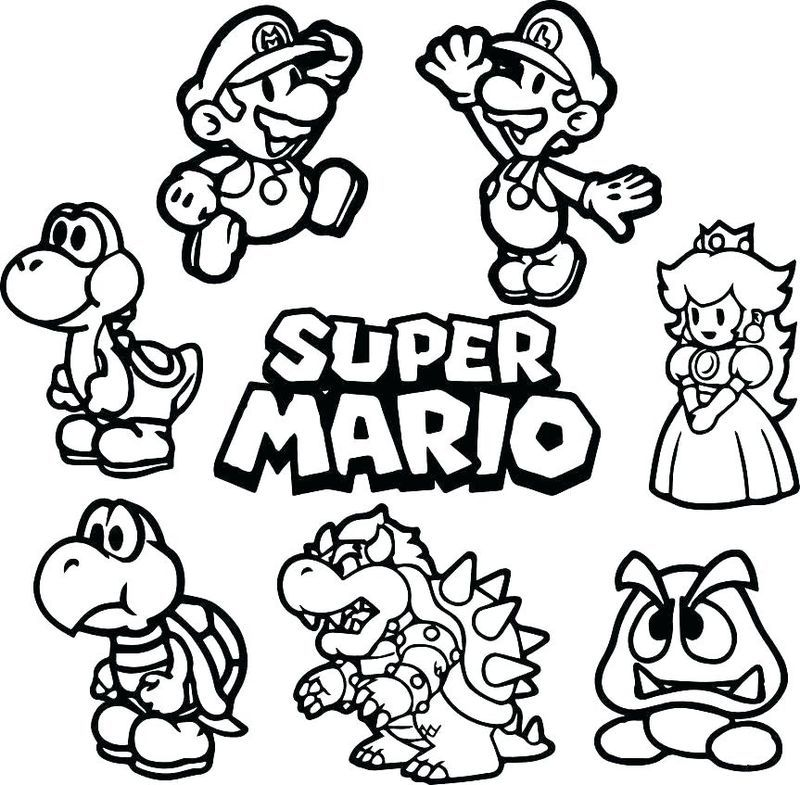 Super Mario Brothers Coloring Pages Printable Siluet, Seni