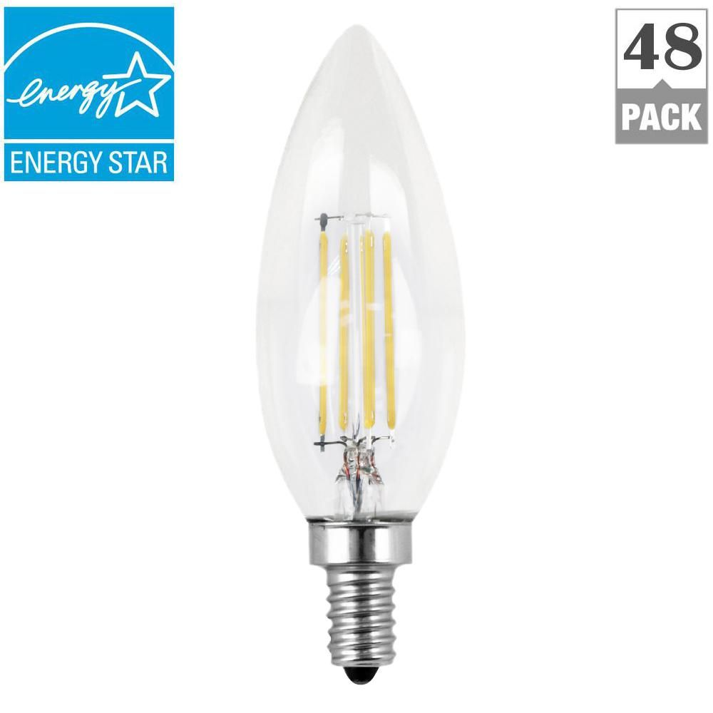 60w Equivalent Daylight 5000k B10 Candelabra Dimmable Filament Led Clear Glass Light Bulb Case Of 48 Light Bulb Clear Light Bulbs Clear Glass Chandelier