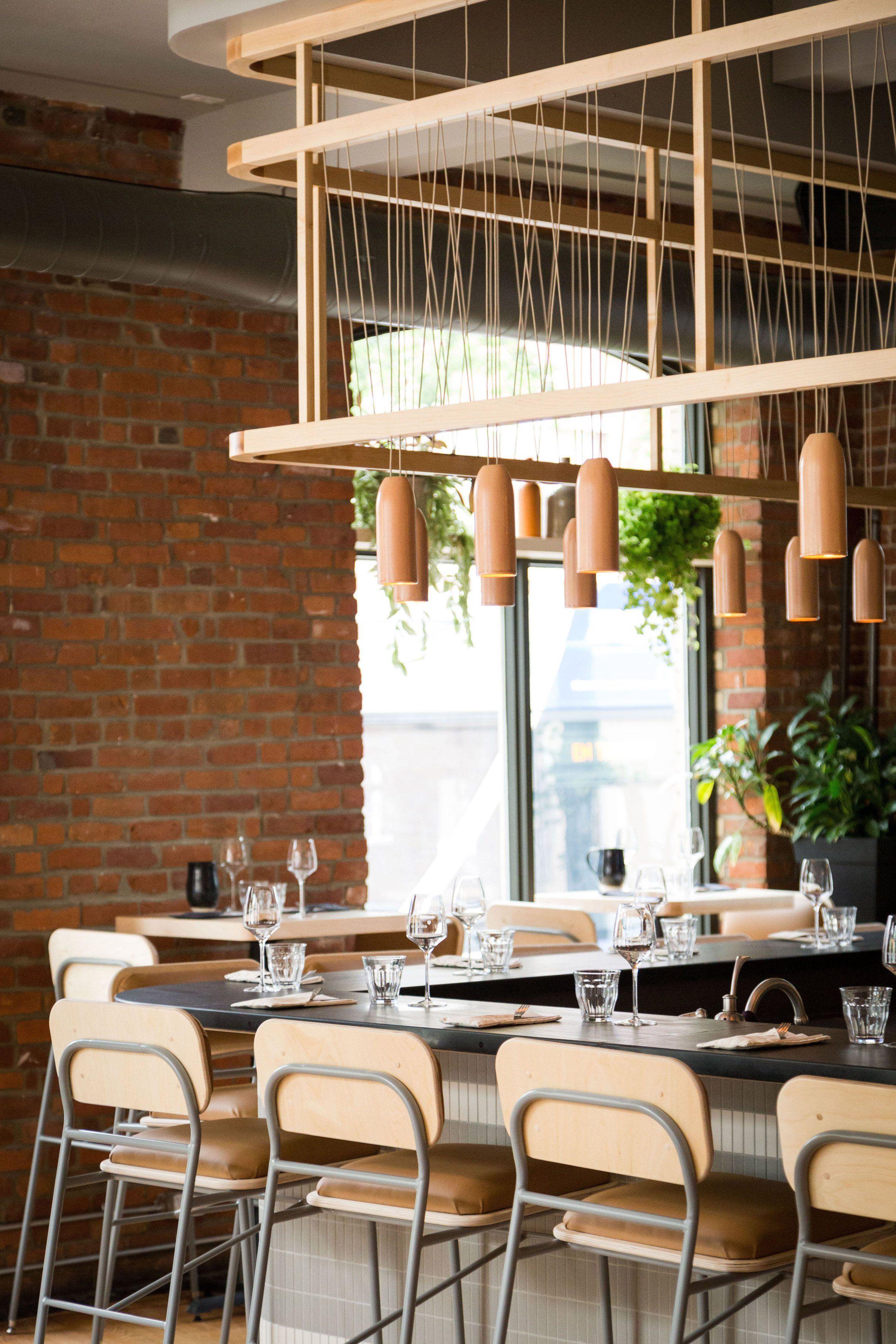 Atelier Filz Designs Bespoke Lighting And Chairs For Restaurant In Quebec City Restaurant Design Restaurant Interior Restaurant