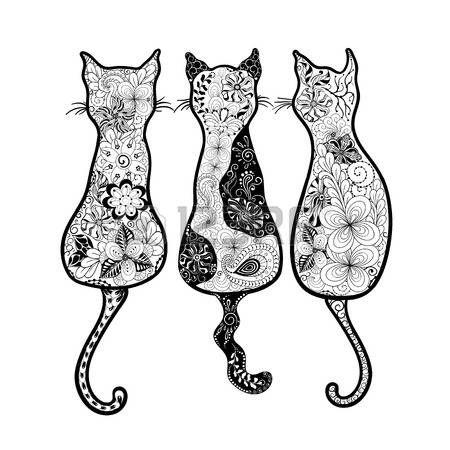 Animali Stilizzati Illustrazione Gatti è Stata Creata A