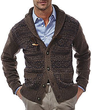 Haggar Fair Isle Toggle Cardigan Sweater | Sweaters for Him ...