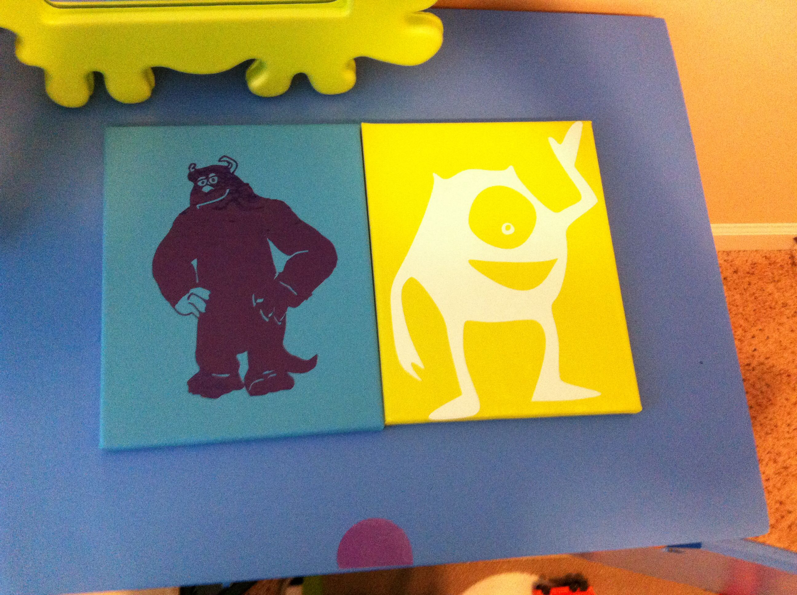 Mike W and Sully vinyl on canvas for my sons monster bedroom:)M ...