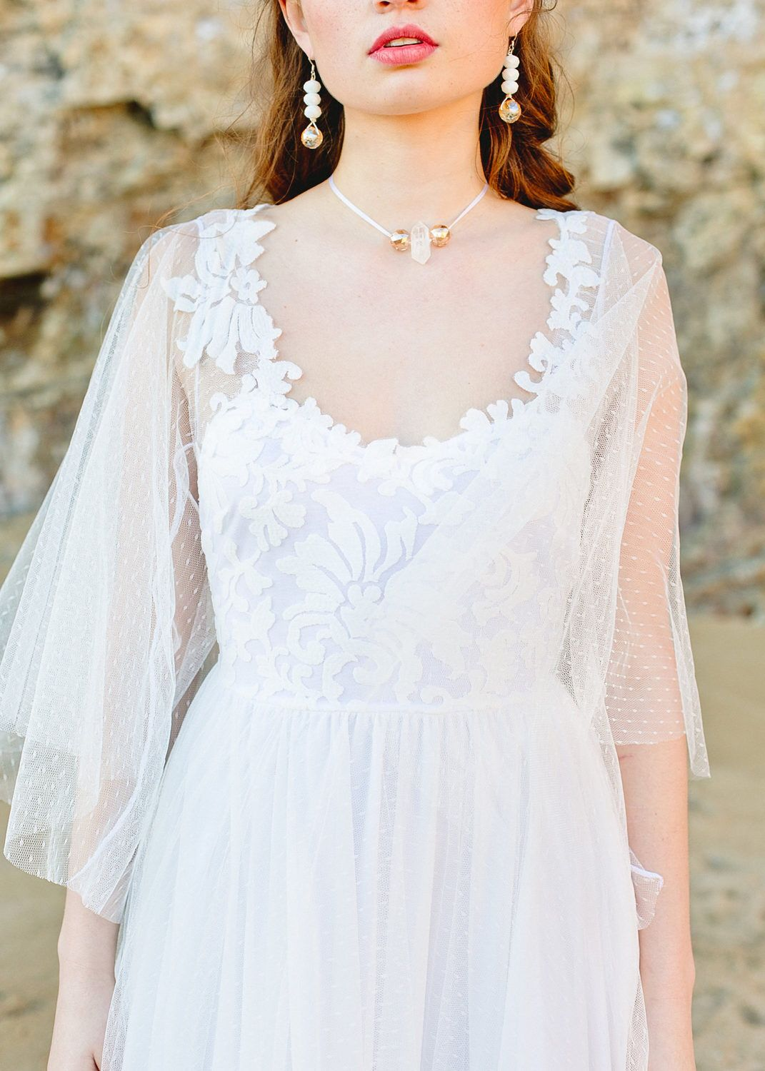 Lace hippie wedding dress  Boho Wedding Dress with Sweetheart Neckline Dotted Tulle Flared