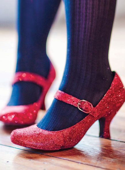 "DIY Dorothy's Ruby Slippers (inspired by L. Frank Baum's ""The Wonderful Wizard of Oz"") - did you know they were actually silver in the book? They were changed to ruby in the 1939 film to take advantage of the new Technicolor film process."