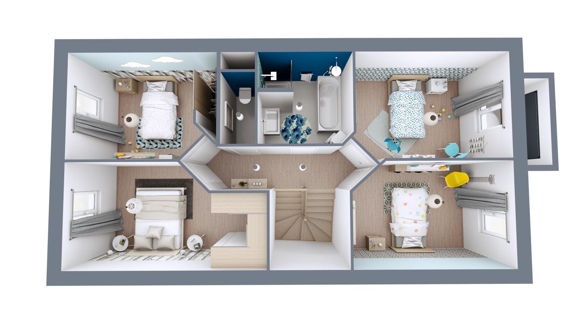 Plan maison 3D étage moderne | Modèle Urbis | Vue Etage | Maisons MCA | Maison mca, Maison, Plan ...