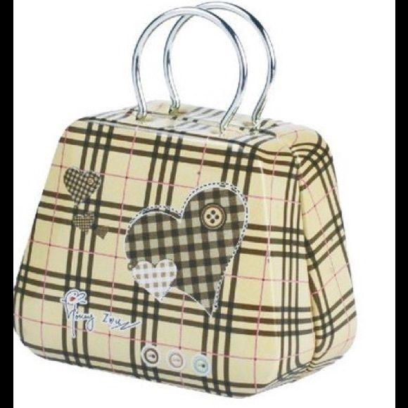 "TIN 'HANDBAG'   ✨NWOT✨  Adorable key, change, trinket or gift ""bag""!                                                                                                              A bit of whimsy & fun!   A bit larger than previous model! Accessories"