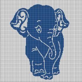 Blue Elephant Crochet Afghan Pattern Graph Afghan