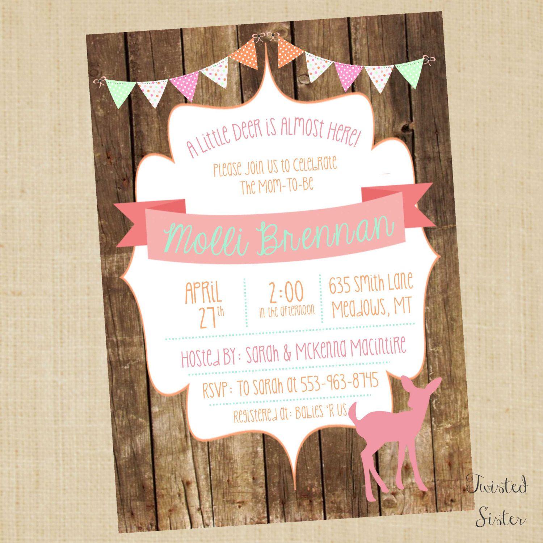 Little Deer Baby Shower Invite