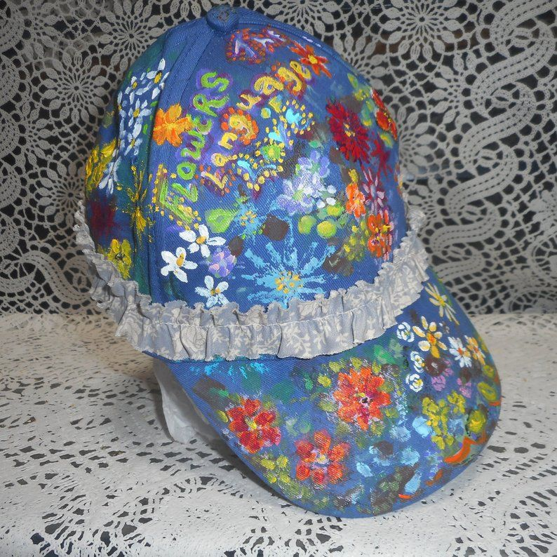 2ec476d9 Hand Painted Floral Hat, Women's Canvas Hat, Garden Hat, Gift For ...