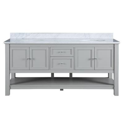 Home Decorators Collection Gazette 72 In W X 22 In D Double Bath Vanity In Grey With Marble Vanity Top In Carrara White Gagat7222d The Home Depot Marble Vanity Tops Double