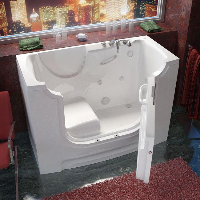MediTub Wheelchair Accessible 30x60 Inch Right Drain White Whirlpool Jetted  Walk In Bathtub (