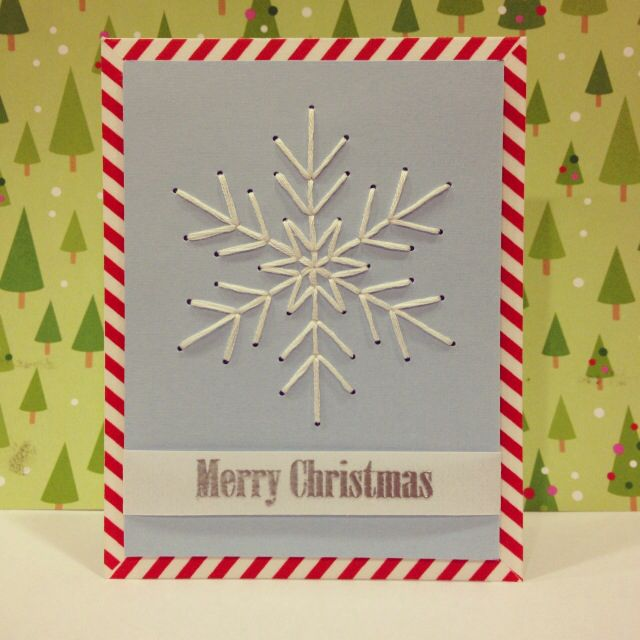 Stitched Snowflake Christmas Card Christmas Cards Handmade Diy Christmas Cards Homemade Christmas Cards