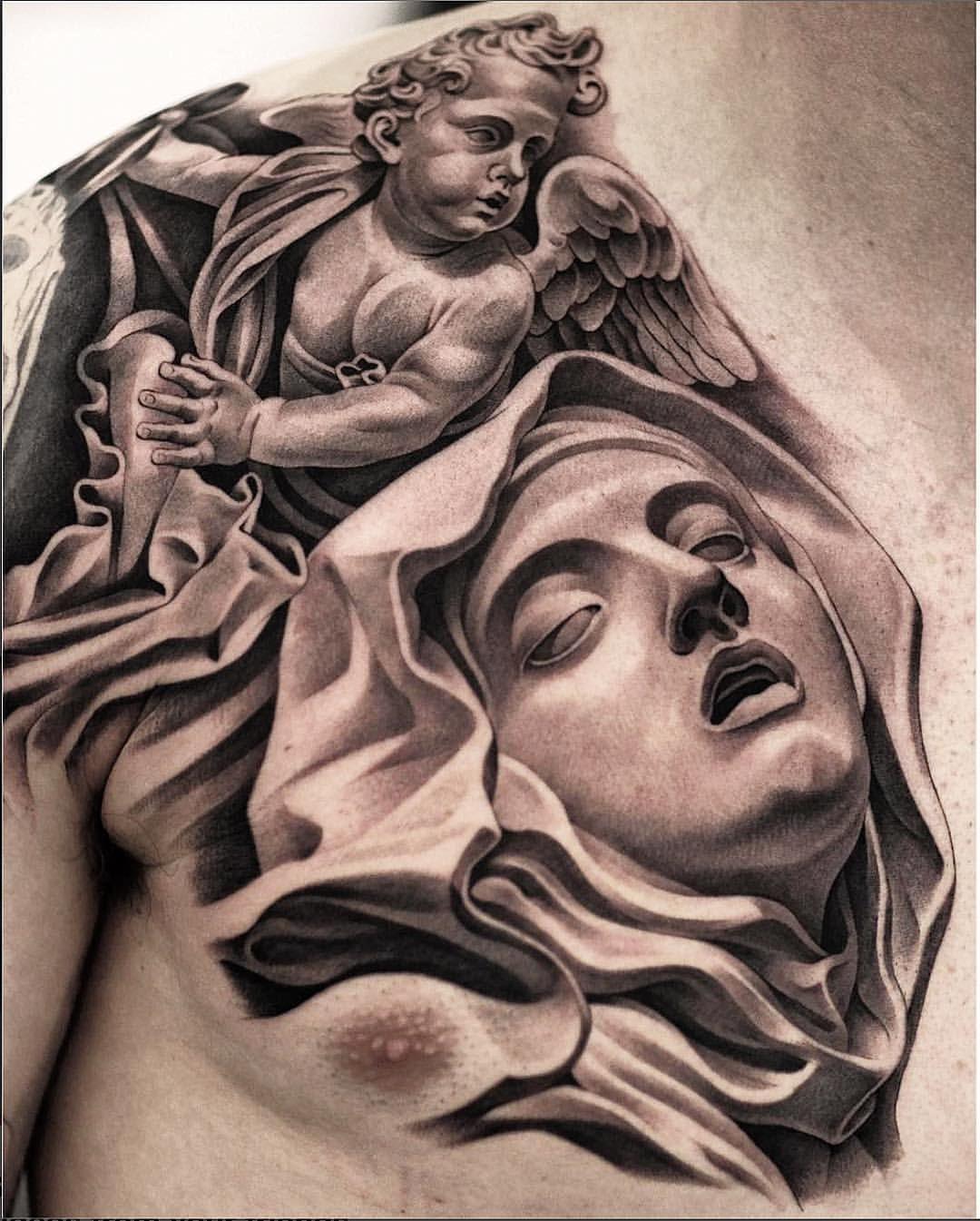 c2a26821d Jun Cha Chest Piece Cupid Tattoo, Mary Tattoo, Tattoo Shading, Realism  Tattoo,