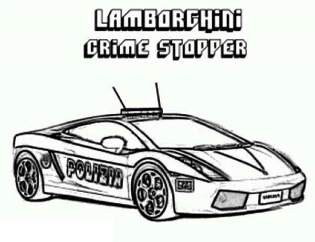Printable Coloring Sheet Of Lamborghini Crime Stopper Cop Car