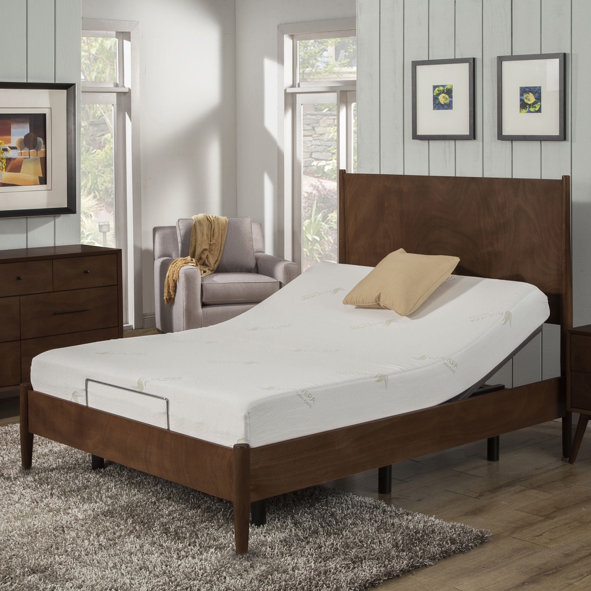 AC Pacific 8-inch Twin XL-size Aloe Vera Memory Foam Mattress and  Adjustable Bed Base Set by AC Pacific