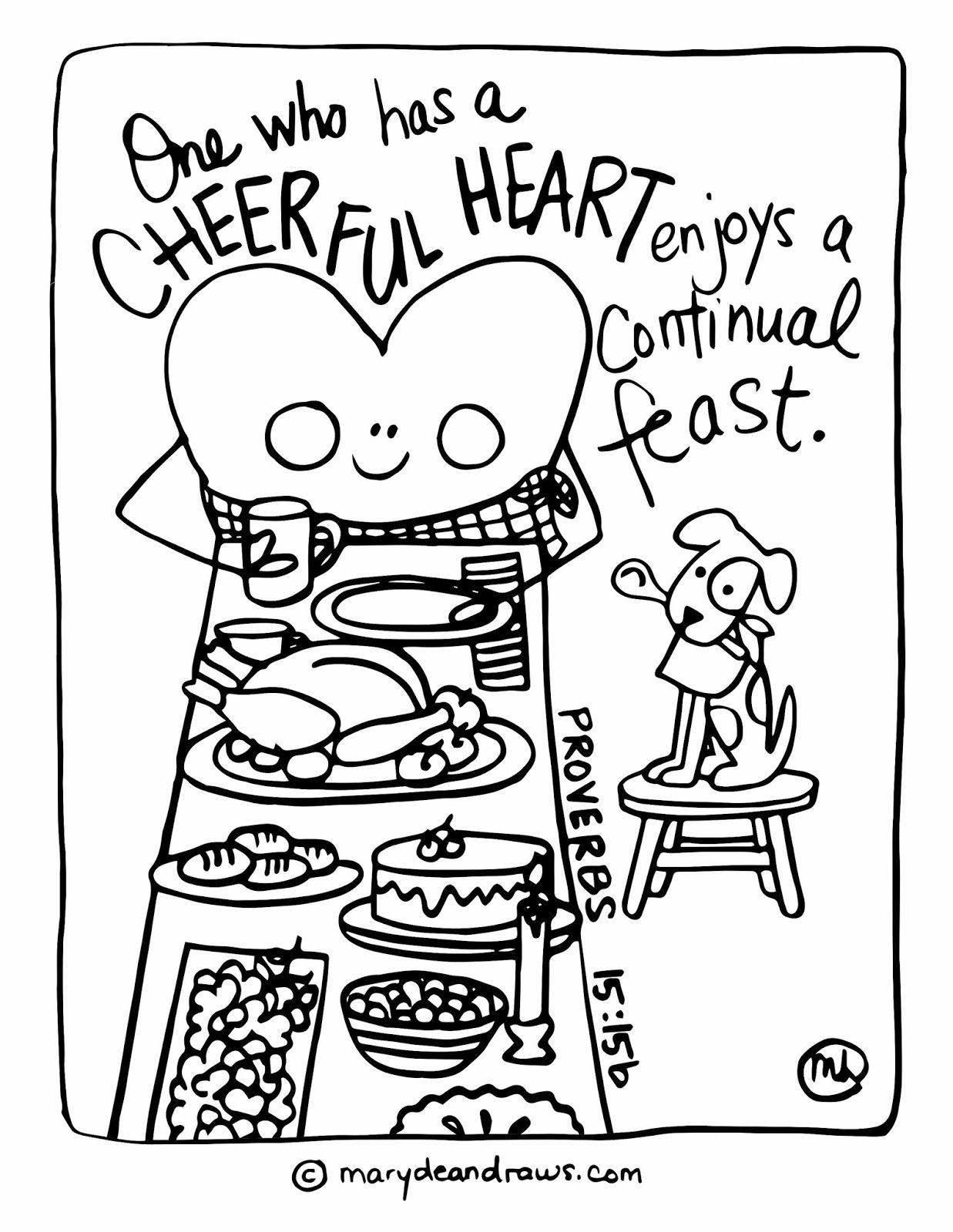 Coloring pages with bible verses - Proverbs 15 15 Scripture Bible Verse Coloring Page Cheerful Heart