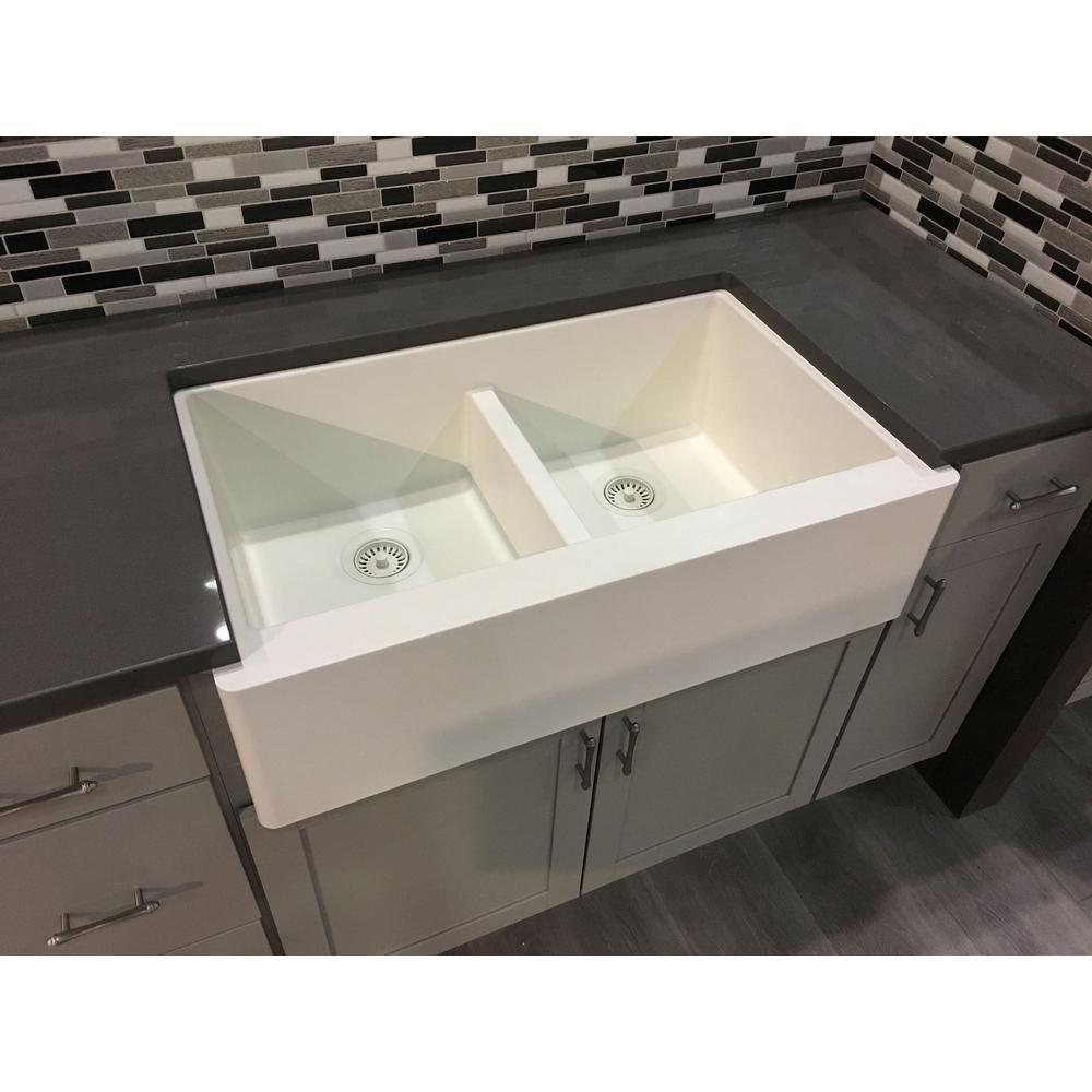 Karran Apron Front Quartz Composite 34 In Double Bowl Kitchen