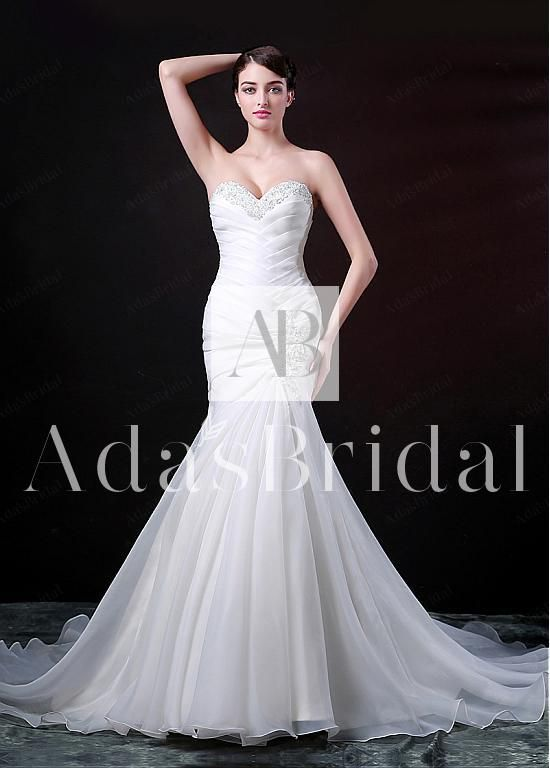 Gorgeous Organza Satin Mermaid Sweetheart Neckline Wedding Dress With Beaded Lace Applliques