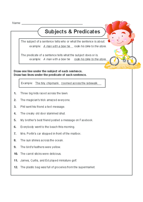 Help your child master subject and predicates with this free – Subject Predicate Worksheet