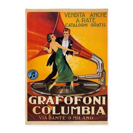 GRAFOFONI COLUMBIA GRAMOPHONE DANCE MUSIC ITALY CAPPIELLO VINTAGE POSTER REPRO