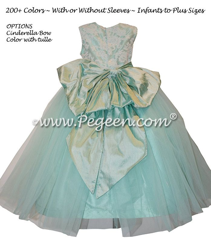 2405283dbd2 Aqua and White Aloncon Lace Silk Flower Girl Dresses by Pegeen.com ...