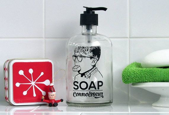 A Christmas Story Soap Dispenser Screen Printed Glass Pump Bottle Ralphie Soap Connoisseur Soap Dispenser A Christmas Story Soap