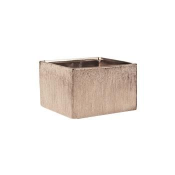 """Etched Metallic Copper Low Square Container - 4""""H x 6""""SQ"""