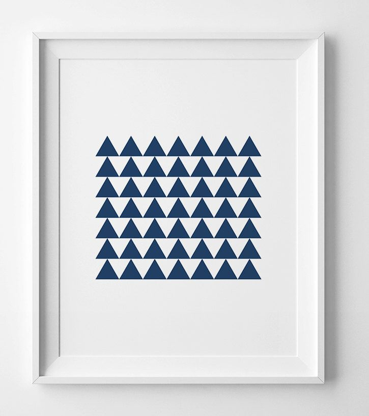 Navy Blue Wall Art printable art, navy triangle poster, blue wall art, geometric