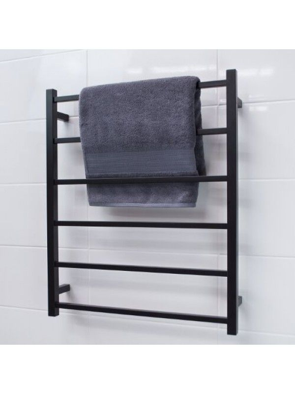 Radiant Matte Black Sltr 01 Square Non Heated Towel Rail 700 800