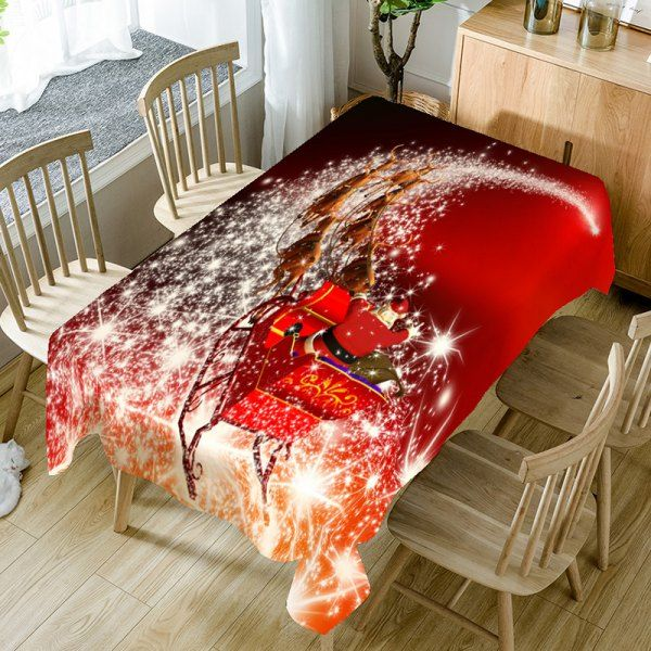 Christmas Starlight Carriage Pattern Table Cloth - Red W60 Inch * L84 Inch