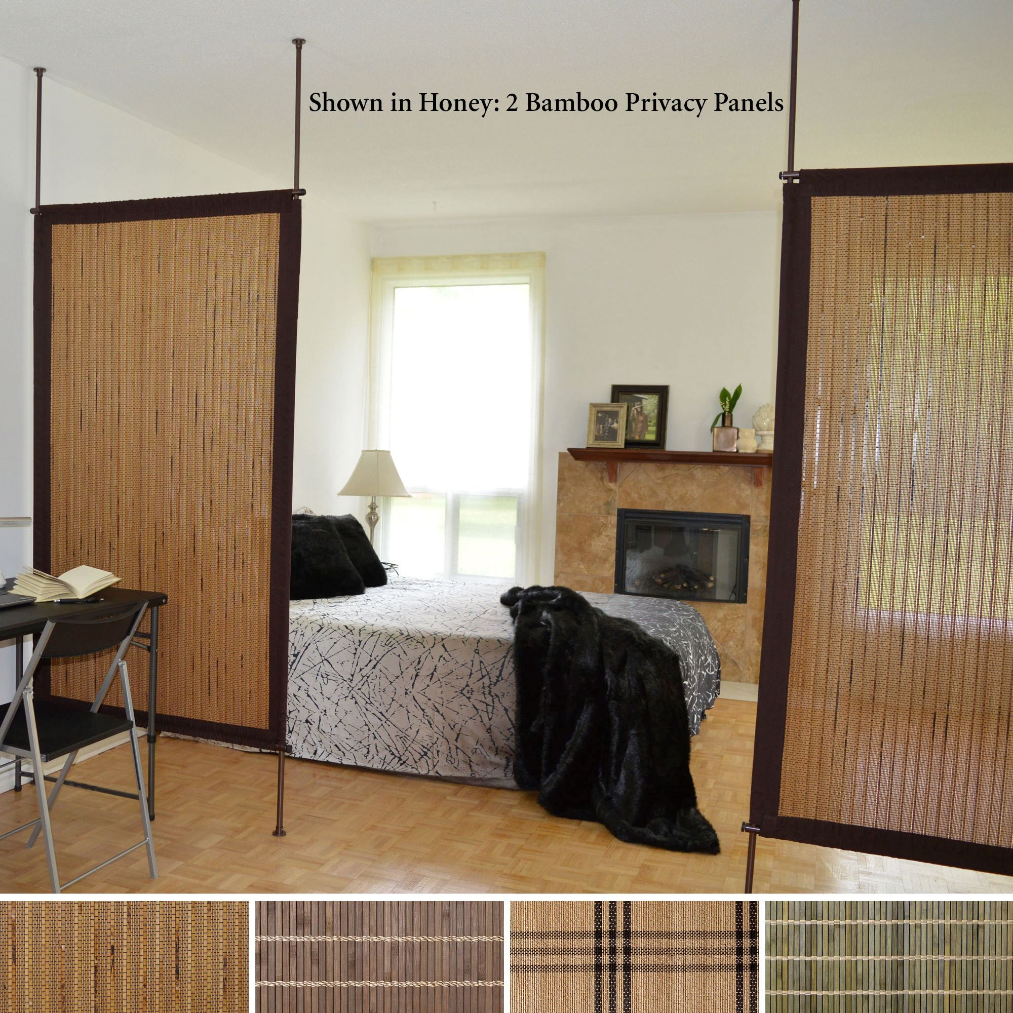 Bamboo privacy panel screen room divider house for Screens and room dividers