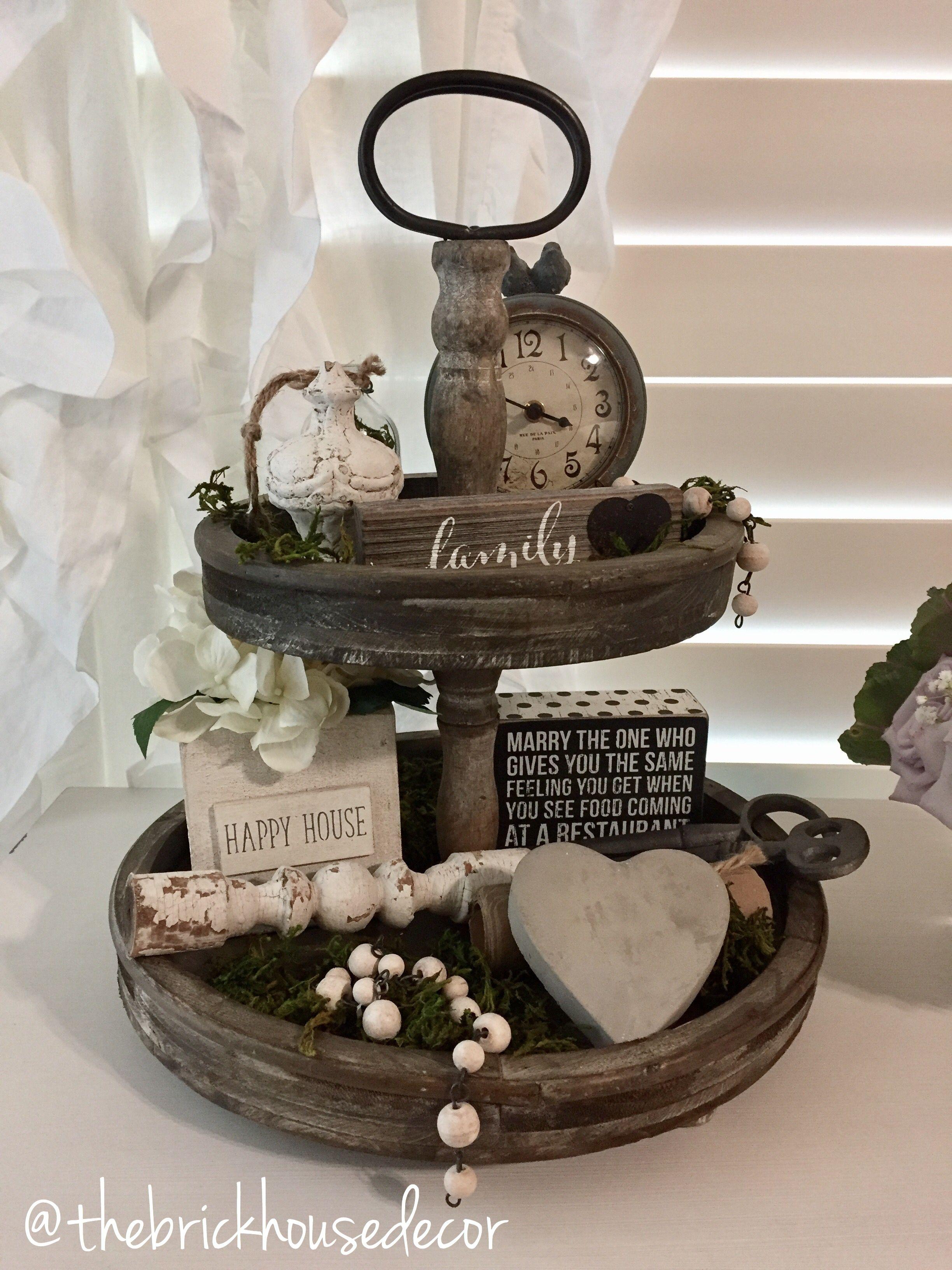 Wedding tray decoration ideas  Tiered tray farmhouse home decor  New House Ideas  Pinterest