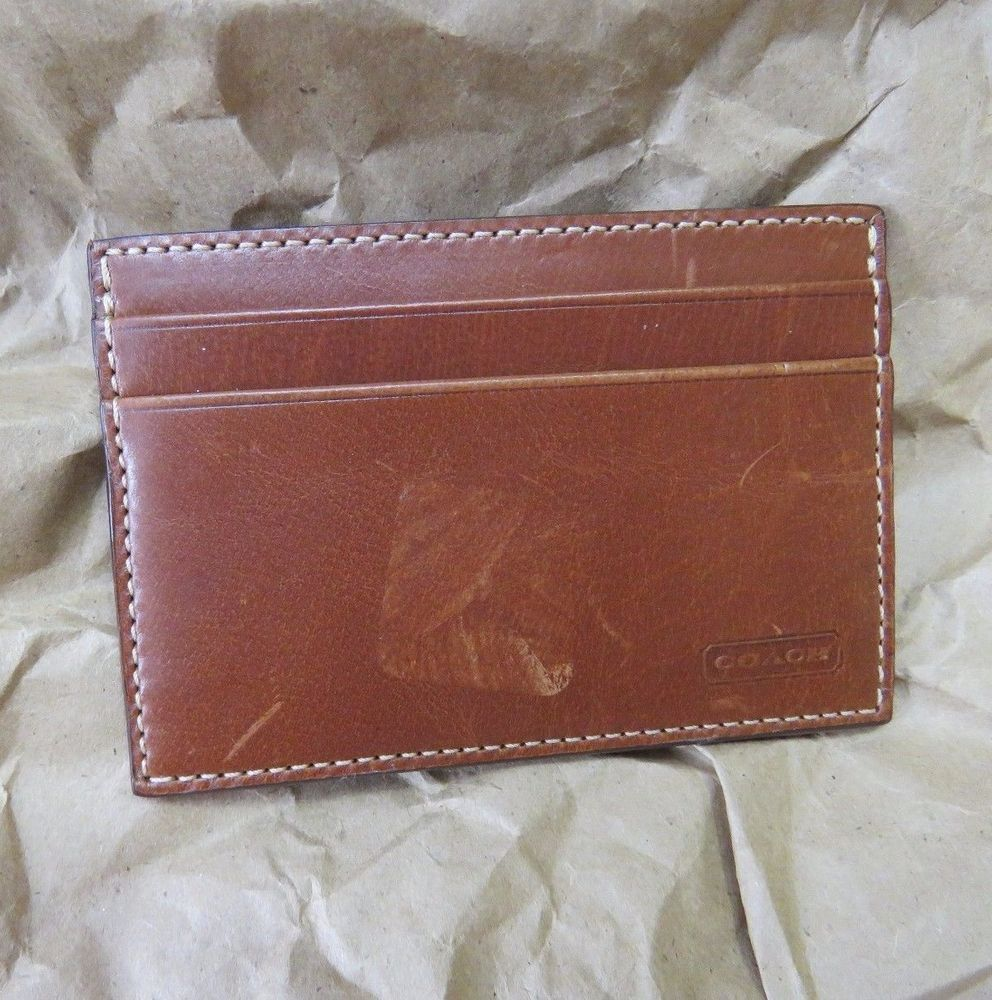 COACH Chestnut Brown Leather Slim Credit Card Business Card ID ...