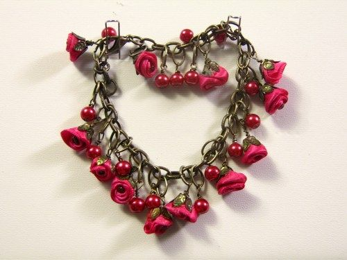 Antique Brass Charm Bracelet with Silk Roses and Pearls   | SunCreations - Jewelry on ArtFire