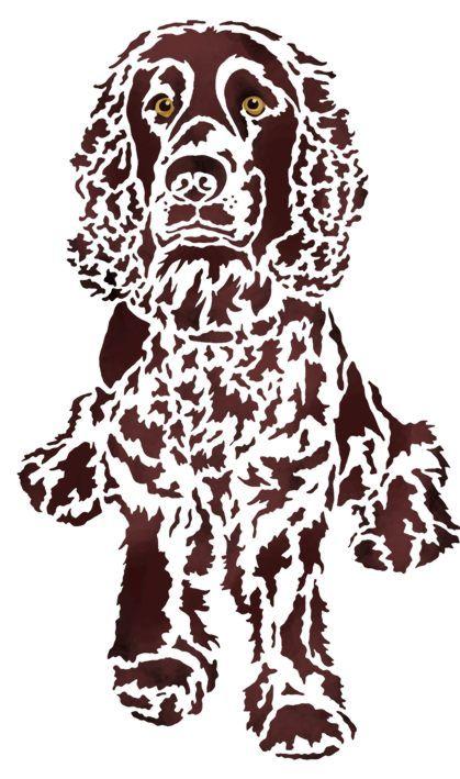 chien cocker assis pochoirs gabarits stencils. Black Bedroom Furniture Sets. Home Design Ideas