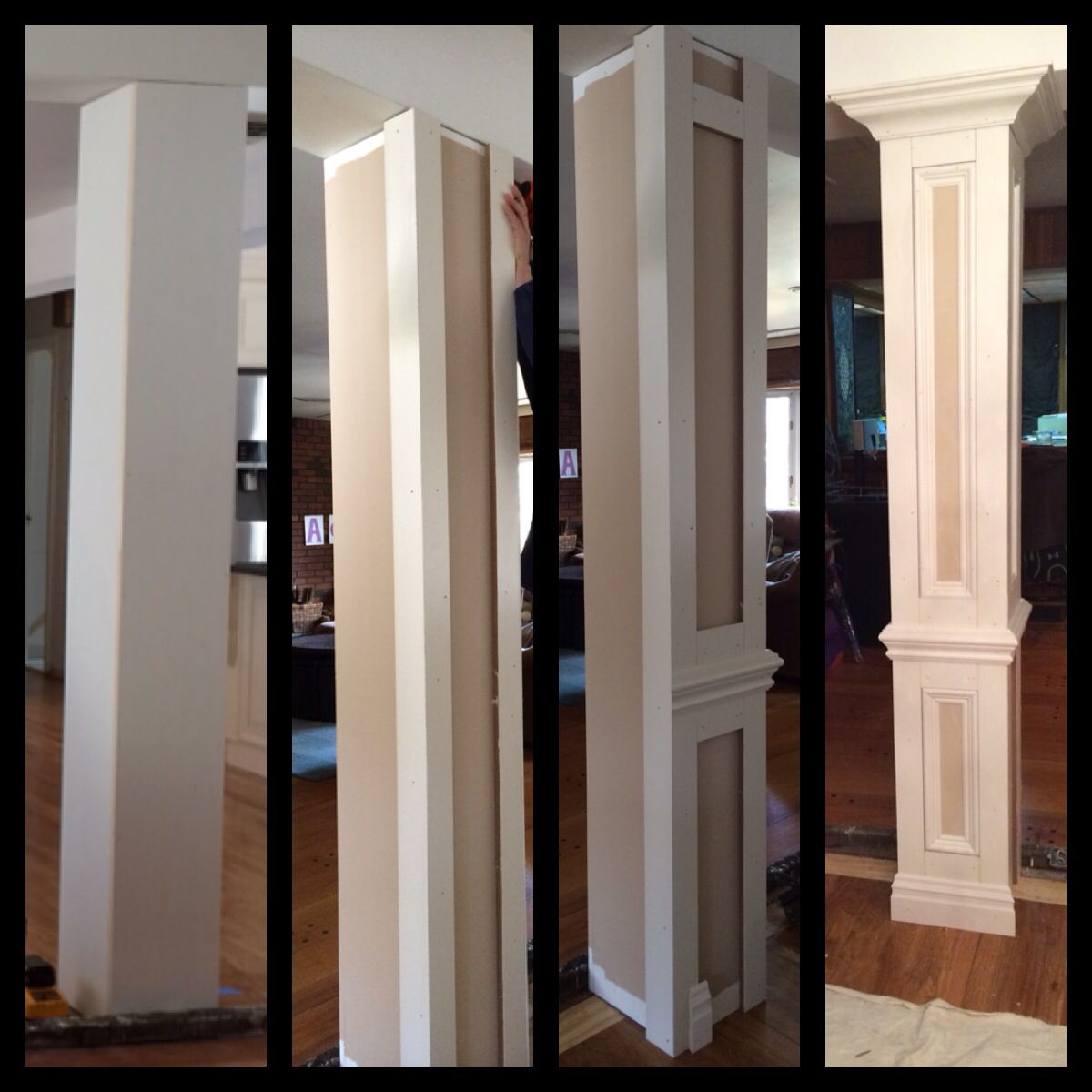 Do it yourself columns to divide living room and dining for Interior support columns