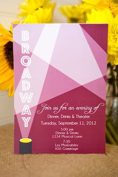 Broadway invitations for Ninau0027s birthday get together party - invitation for a get together