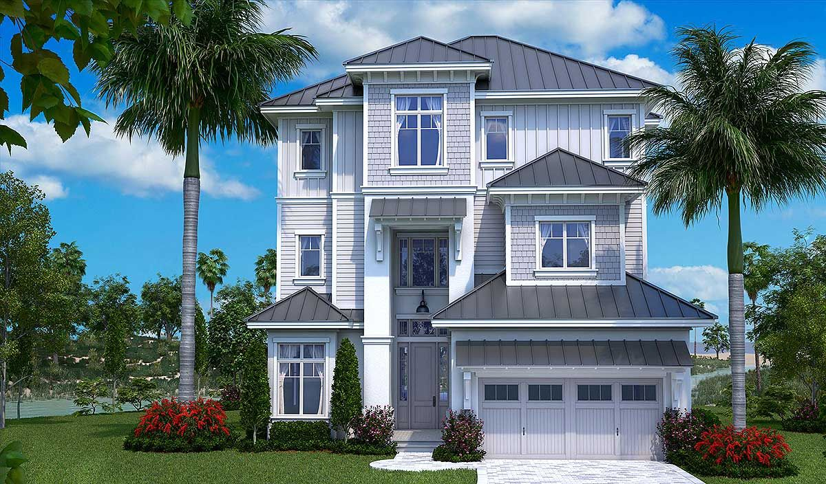 Plan 66367we Three Story Florida House Plan In 2021 Florida House Plans Beach House Floor Plans Coastal House Plans