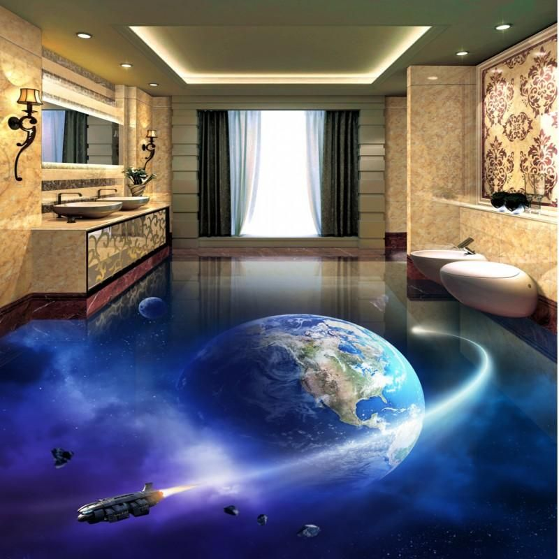 Free Shipping Cosmic Galactic Globe 3d Flooring Wallpaper Living Room Bathroom Decoration Self Adhesive Fl Wallpaper Living Room Bathroom Decor Floor Wallpaper