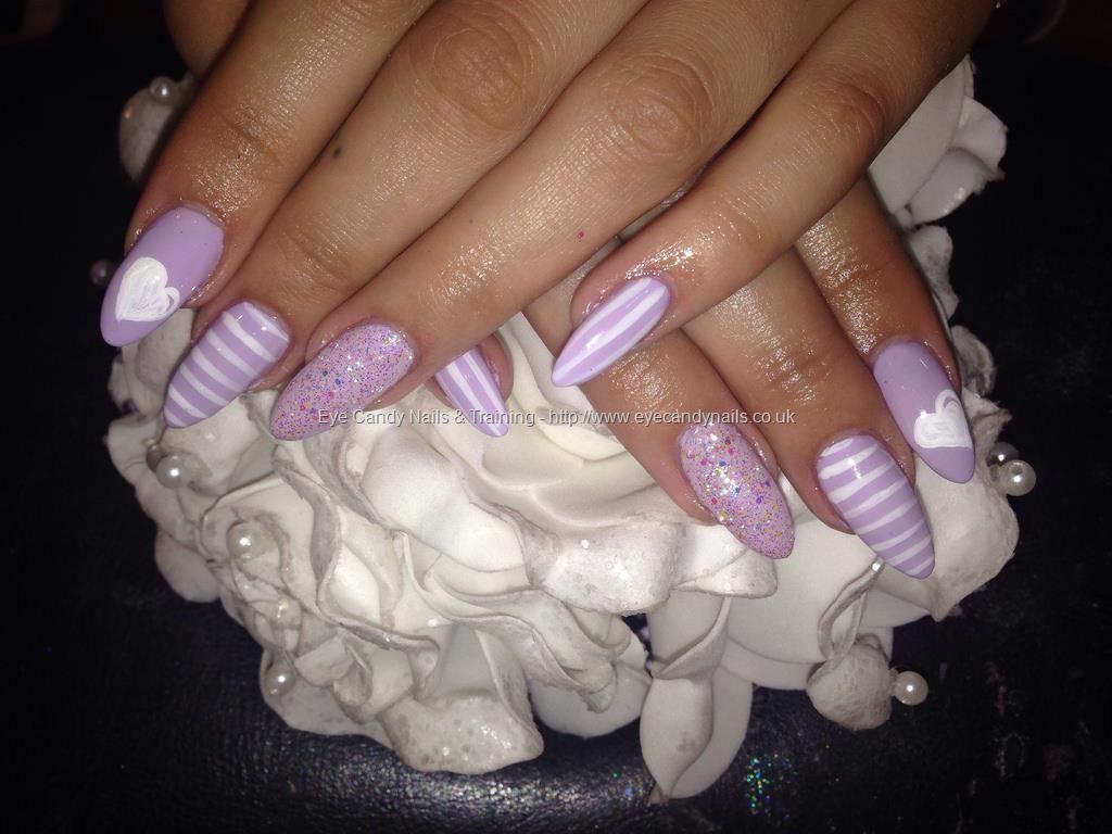 Acrylic nails with lilac gelish gel polish free hand nail art ...