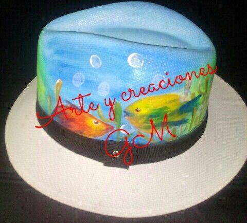 sombreros pintados a mano por ambos lados para todo clima y ocasión ... 09b789c185f