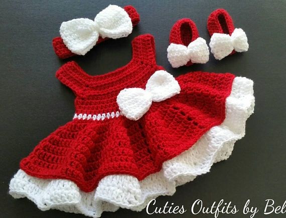 c150dbd5e5a2f Crochet Baby Dress, Red Baby Dress, Handmade Baby Headband, Newborn ...