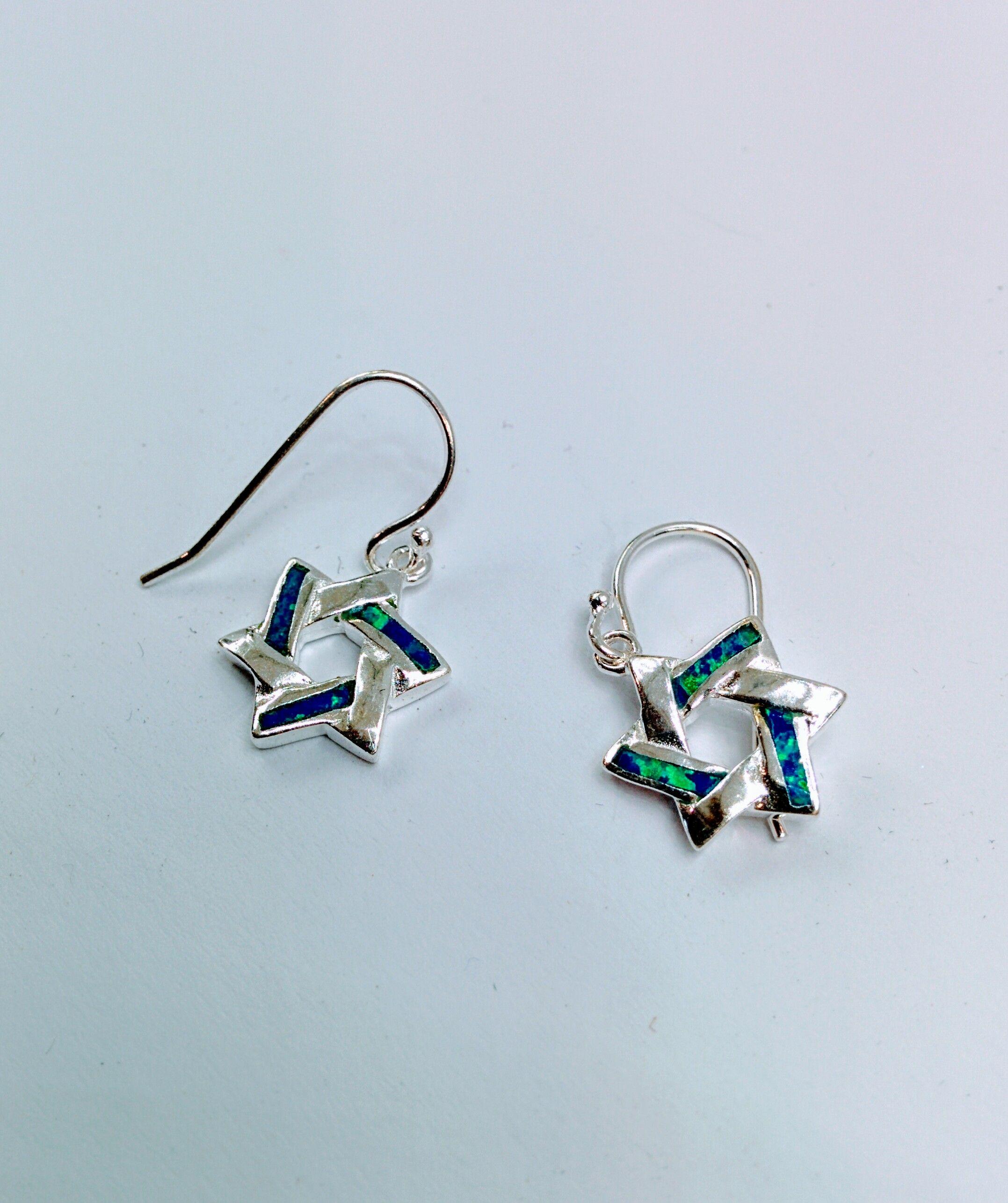 Star Of David Earrings Blue Opal Jewish Symbol Hebrew Jewelry