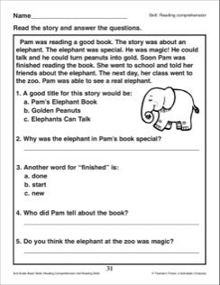 Pam S Elephant Book Reading Passage And Comprehension Questions