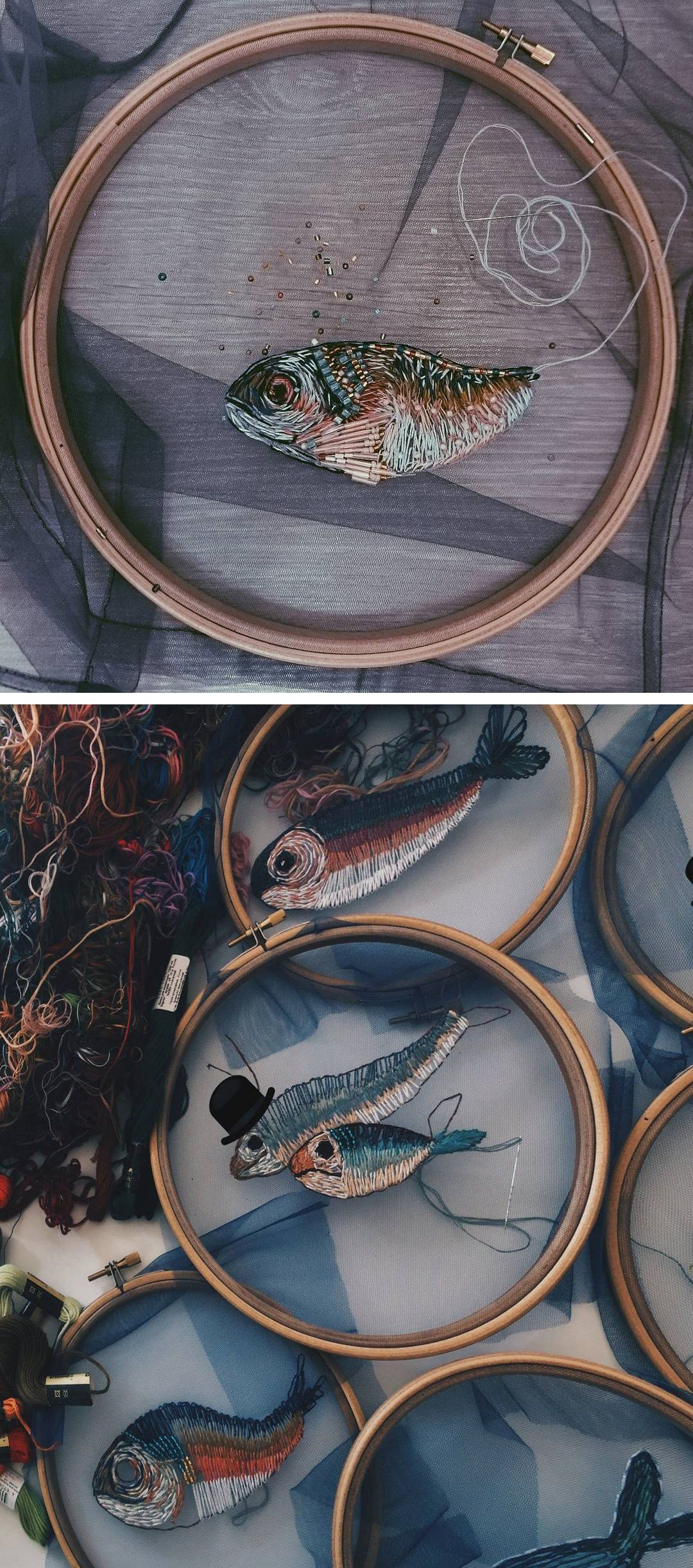 Fish embroidery on tulle // hoop art // optical illusion embroidery