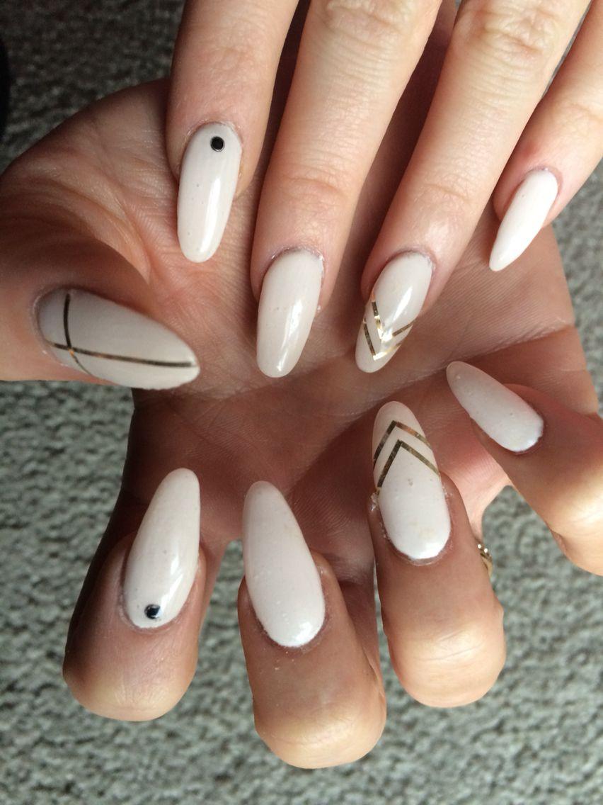 Almond Stiletto Gel Nails Rose Gold Foil Strips Black Gems
