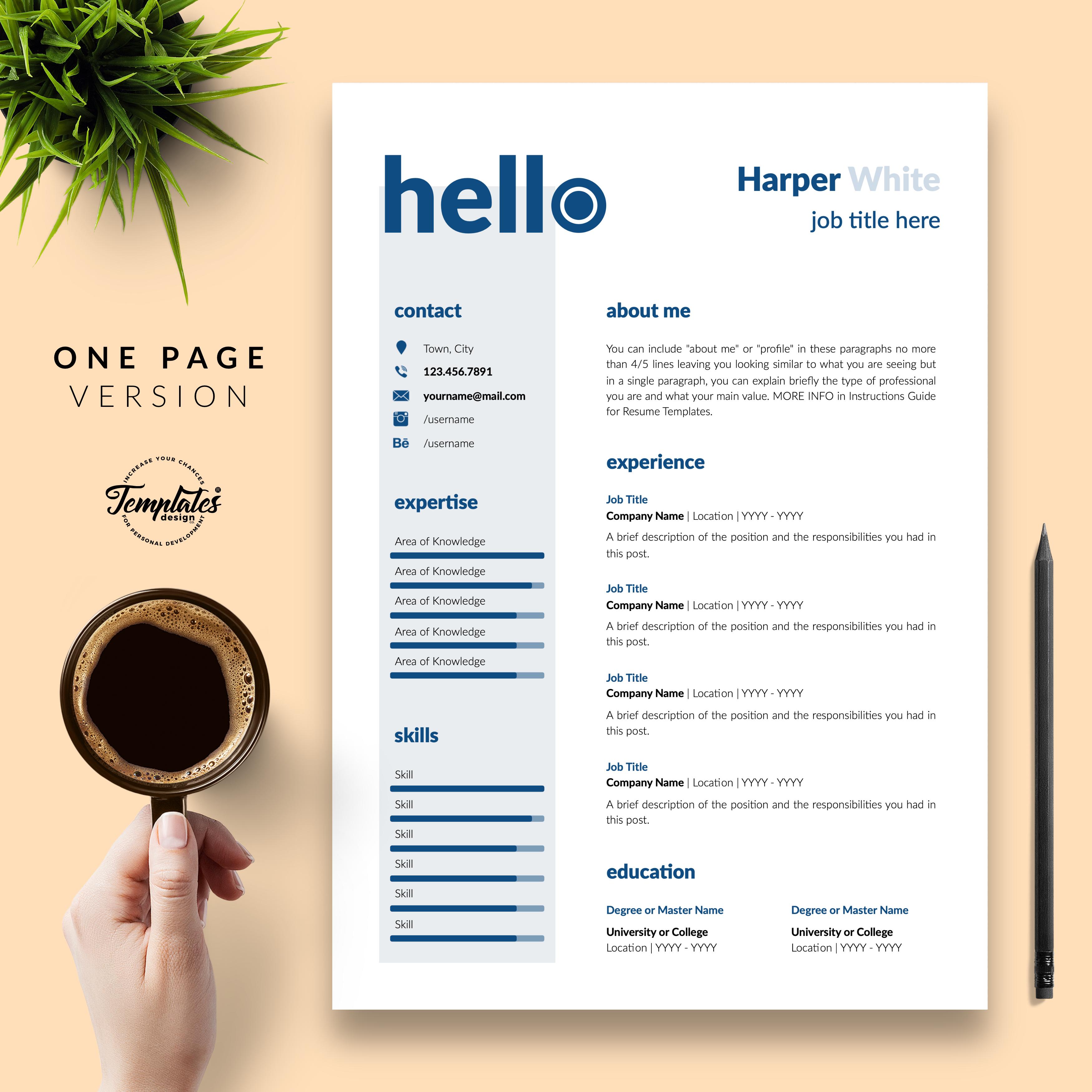 Professionelle Lebenslauf Vorlage Fur Microsoft Word Und Apple Pages Resume Template Word Resume Templates One Page Resume