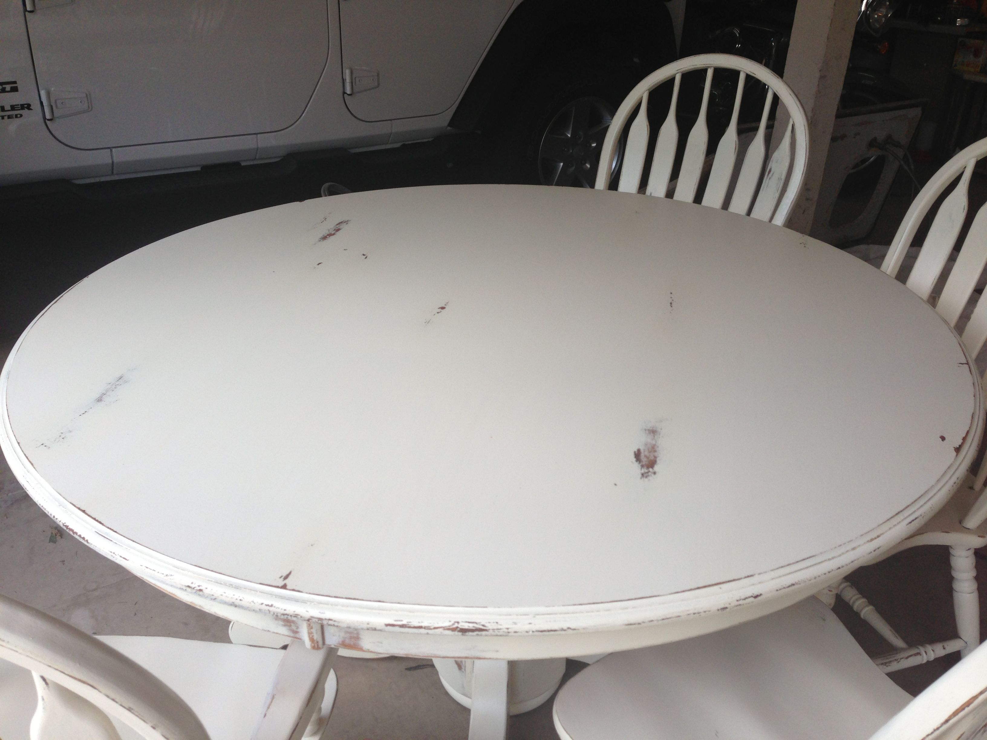 diy furniture refinishing projects. Refinished Distressed Painted Kitchen Table In Cream White. Refurbished, Furniture Ideas, DIY Diy Refinishing Projects