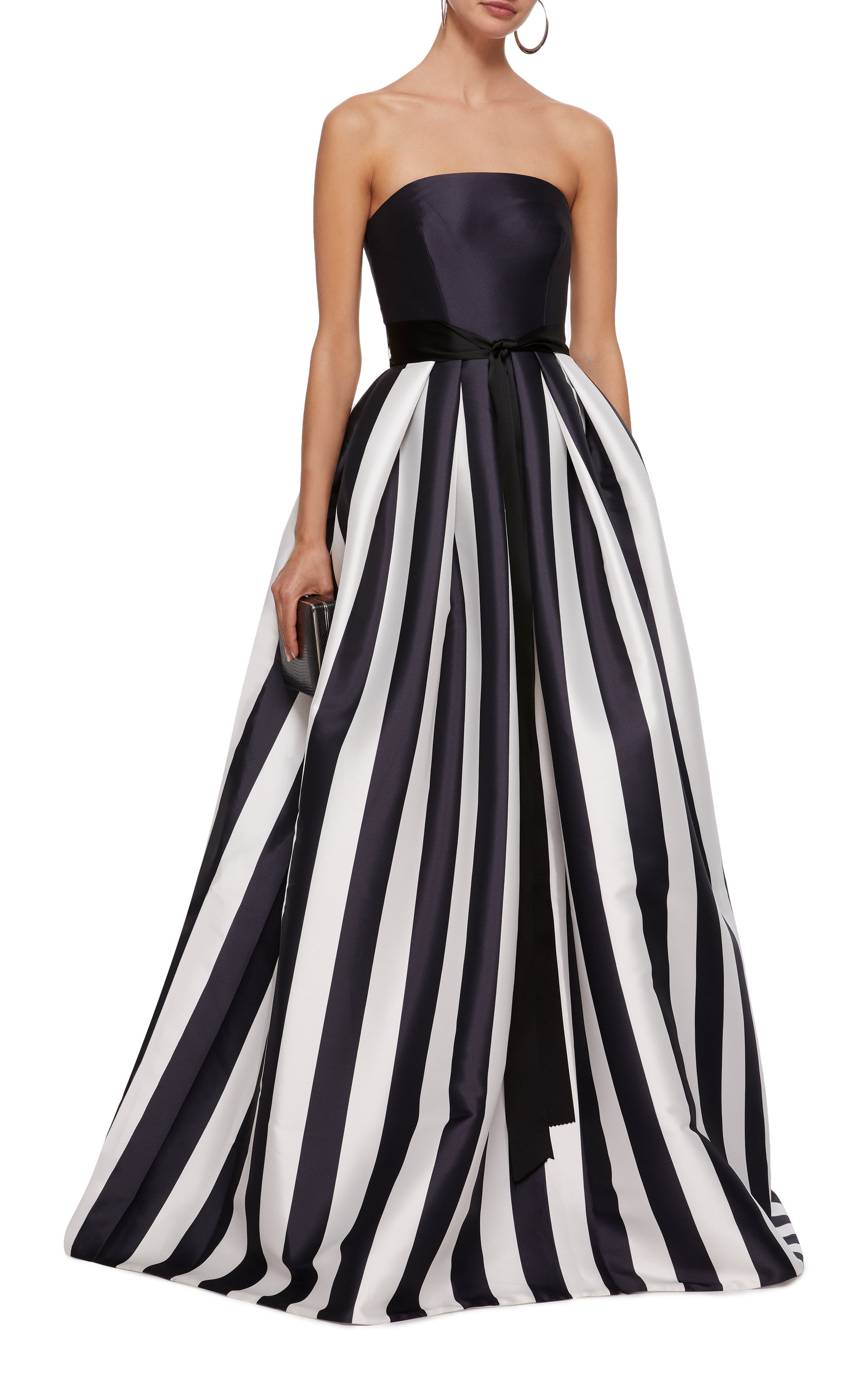 cc8684275b0 Strapless Striped Satin Ball Gown by MONIQUE LHUILLIER Now Available on  Moda Operandi