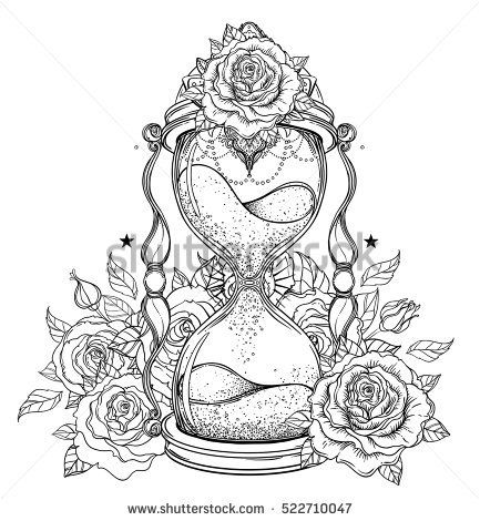 Decorative antique hourglass with roses illustration isolated on ...